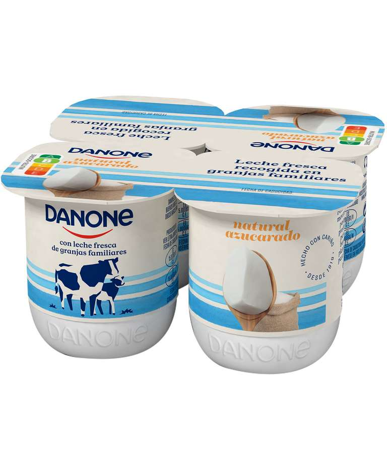 Yogur Natural Azucarado Danone pack 4 uds.