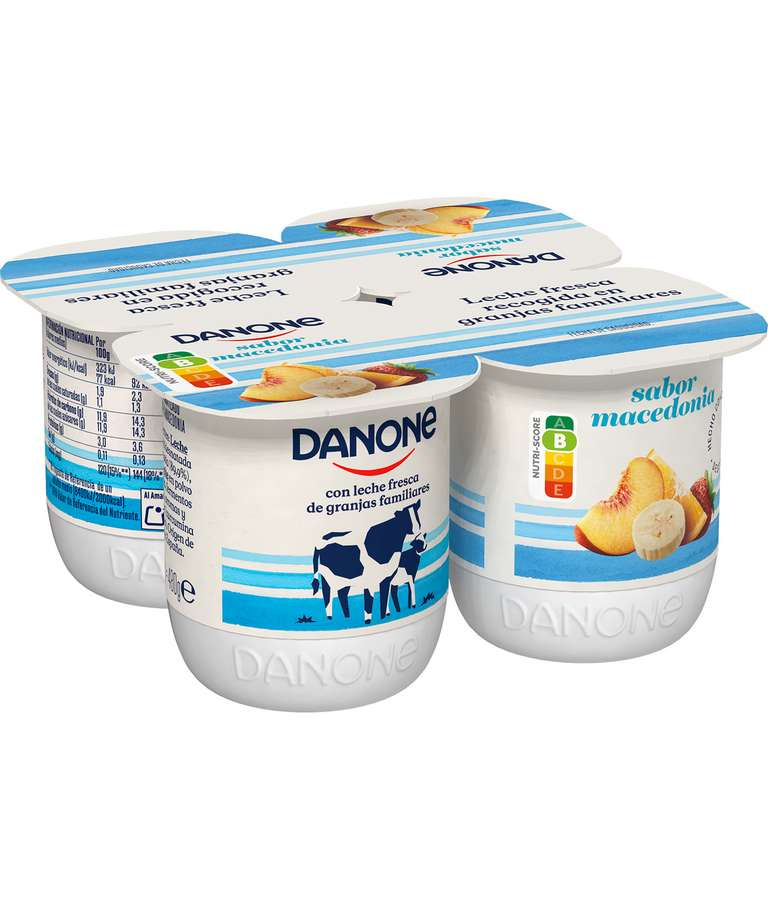 Yogur con Sabor a Macedonia Danone pack 4 uds.